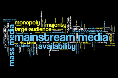 correctness: Mainstream media issues and concepts word cloud illustration. Word collage concept. Stock Photo