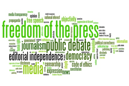 manipulate: Freedom of the press issues and concepts word cloud illustration. Word collage concept. Stock Photo