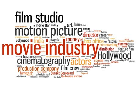 cloud tag: Film industry issues and concepts word cloud illustration. Word collage concept.