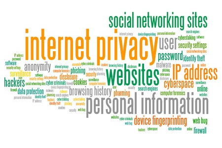personal data privacy issues: Internet privacy issues and concepts word cloud illustration. Word collage concept. Stock Photo