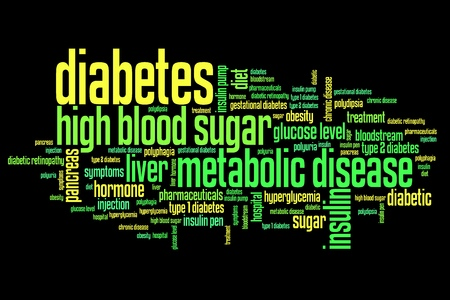 metabolic disease: Diabetes illness concepts word cloud illustration. Word collage concept.