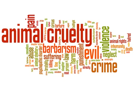 inhumane: Animal cruelty issues and concepts word cloud illustration. Word collage concept.