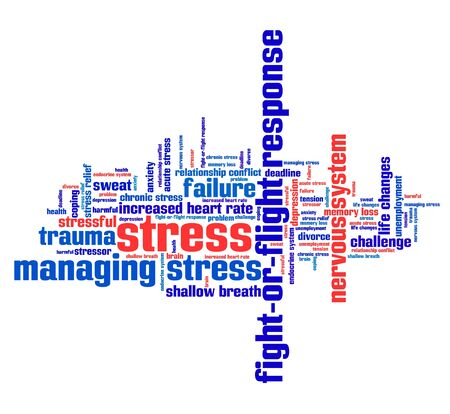 emotional stress: Stress emotional issues and concepts word cloud illustration. Word collage concept.