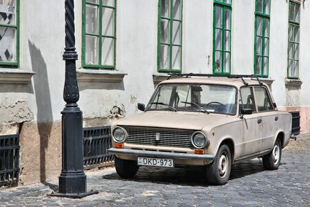 obuda: BUDAPEST, HUNGARY - JUNE 21, 2014: Classic Lada 1200 car parked in Budapest, Hungary. The car is also known as VAZ 2101 or Zhiguli.