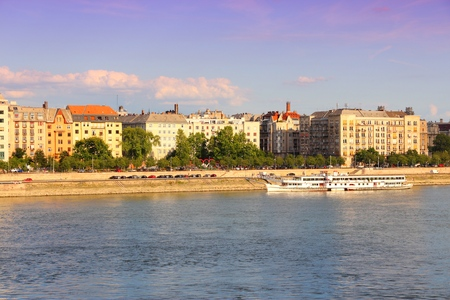 Budapest, Hungary - Danube waterfront apartment buildings in Pest, Lipotvaros district.