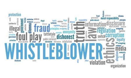 Klokkenluider - vennootschapsrecht overtreding. Morele verantwoordelijkheid begrip word cloud.