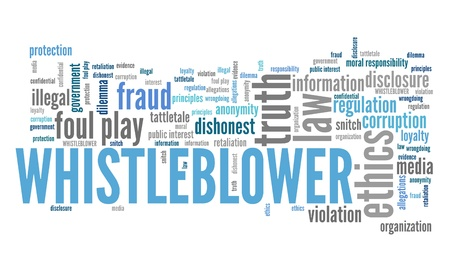 whistleblower: Whistle blower - company law violation. Moral responsibility concept word cloud.