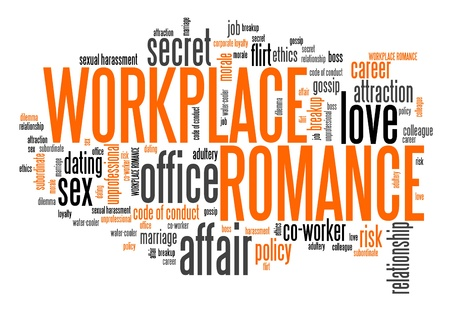 regulations: Workplace romance - company employee dating and love. Corporate regulations word cloud.