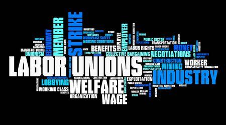 Die Gewerkschaften - Industrie Arbeitnehmerorganisationen. Beschäftigung Wort-Wolke.