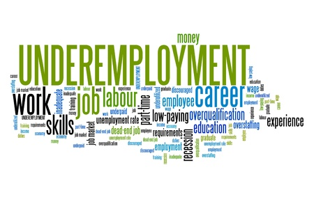 corporations: Underemployment - job market recession problem. Work skills word cloud.