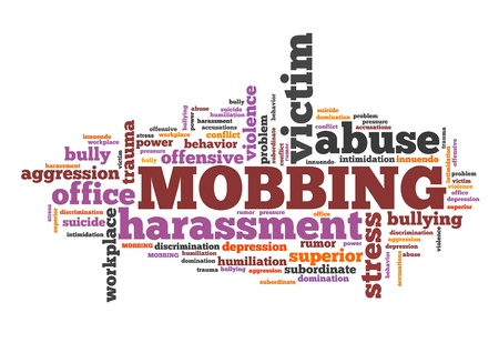 place of employment: Mobbing - work place behavior problem. Employment word cloud.