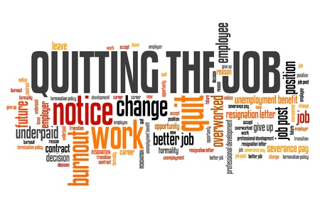 resignation: Job quitting - work place resignation word cloud concept.