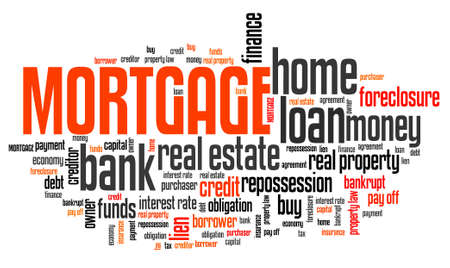 home ownership: Mortgage word collage - home ownership loan financing. Stock Photo