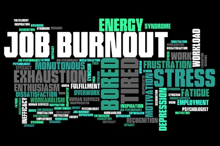 exhaustion: Job burnout - career exhaustion and frustration. Employment word cloud. Stock Photo