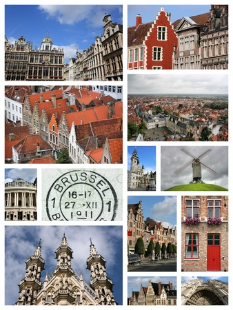 photo montage: Belgium travel photo montage - images collection with Brussels, Antwerp, Bruges, Aalst and Leuven.