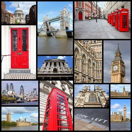 saint pauls cathedral: Travel photo collage from London, UK. Collage includes major landmarks like Big Ben, Saint Pauls Cathedral and red telephone booths.