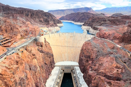 Hoover Dam in United States. Hydroelectric power station on the border of Arizona and Nevada.