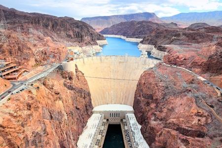 Hoover Dam in USA. Die Wasserkraftwerke an der Grenze von Arizona und Nevada.