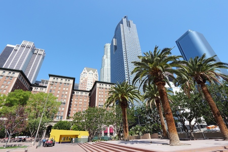 pershing: LOS ANGELES, USA - APRIL 5, 2014: People visit Pershing Square in Los Angeles. Los Angeles is the 2nd most populous city in the USA (3,792,621 people). Editorial