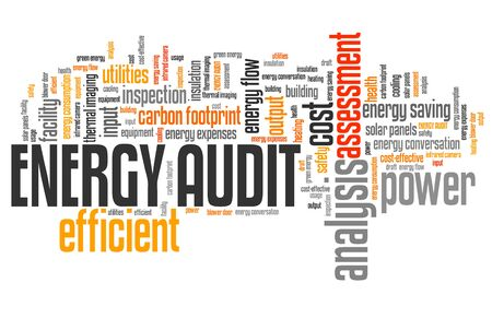 cost savings: Energy audit - efficiency and consumption analysis word collage. Stock Photo