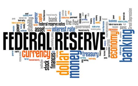 monetary policy: Federal reserve - economy stability and monetary policy word collage.