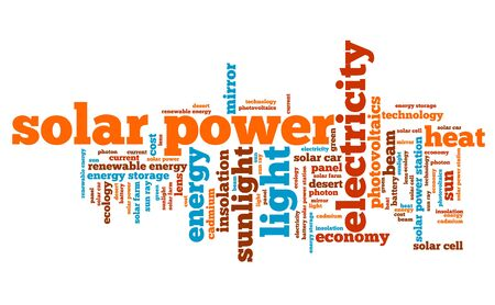 photovoltaics: Solar power - energy industry issues and concepts word cloud illustration. Word collage concept.