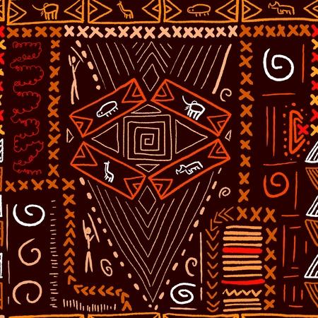 African art pattern - aboriginal style seamless background. Vector illustration. Vektorové ilustrace
