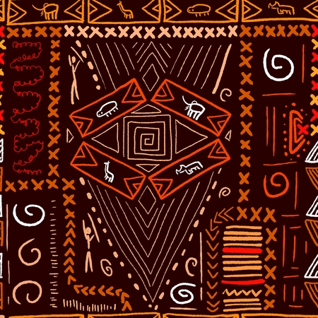 African art pattern - aboriginal style seamless background. Vector illustration.