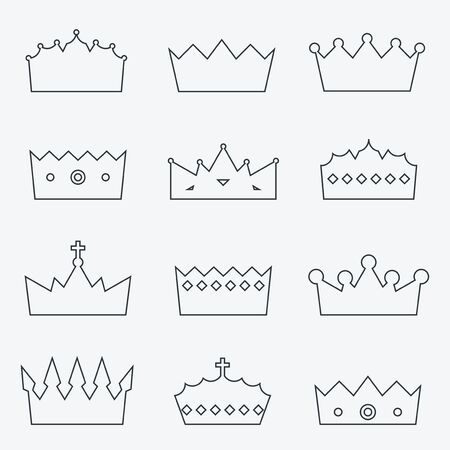 aristocracy: Crown icon collection - royal insignia vector illustration set.