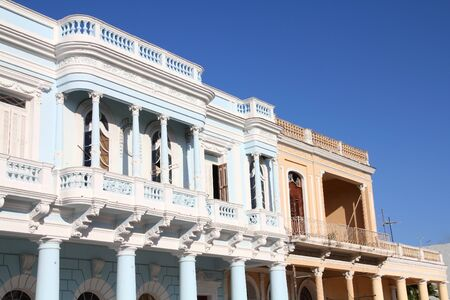 old town: Cuban colonial architecture - Old Town of Cienfuegos Stock Photo