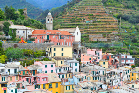 quaint: Cinque Terre, Italy - quaint colorful medieval town of Vernazza. Stock Photo