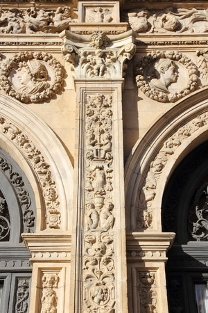 plateresque: Sevilla, Spain - Plateresque architecture of Casa Consistorial (City Government building).