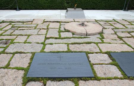 john fitzgerald kennedy: WASHINGTON, USA - JUNE 13, 2013: John Fitzgerald Kennedy grave at Arlington National Cemetery in Washington. JFK was the 35th President of the United States (1961-1963).