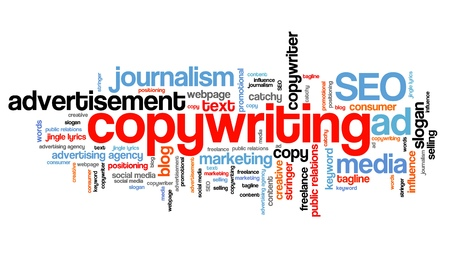 copywriter: Copywriting - marketing industry issues and concepts tag cloud illustration. Word cloud collage concept.