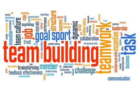 teambuilding: Teambuilding - company teamwork issues and concepts word cloud illustration. Word collage concept.