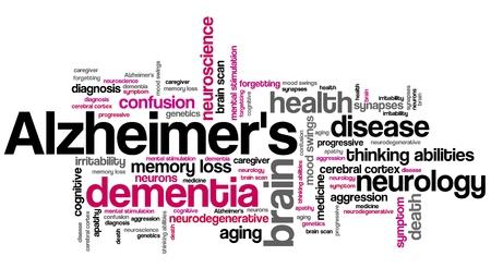 알츠하이머 병 - 노인 건강 개념 단어 구름 그림입니다. 콜라주를 단어 개념입니다.