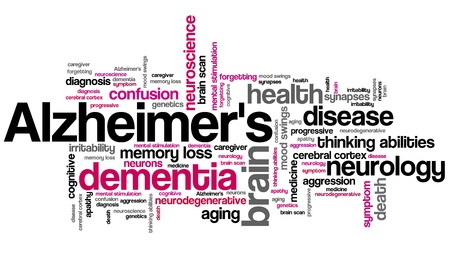 Alzheimer's disease - elderly health concepts word cloud illustration. Word collage concept. Stockfoto