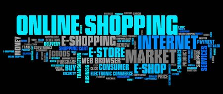word collage: Online shopping - internet concepts word cloud illustration. Word collage.
