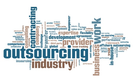 cost saving: Outsourcing - human resources issues and concepts word cloud illustration. Word collage concept. Stock Photo