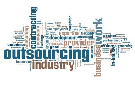 Outsourcing - ressources humaines questions et des concepts word cloud illustration. Parole concept de collage. Banque d'images - 56225446