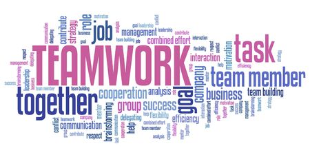 teambuilding: Company teamwork issues and concepts word cloud illustration. Word collage concept.