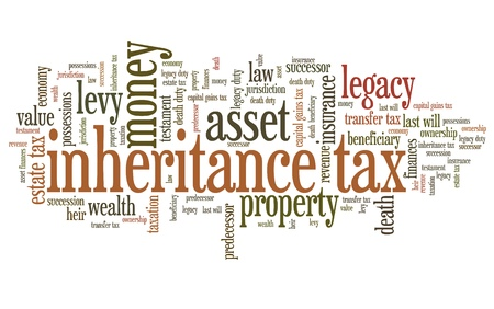 tax policy: Inheritance tax - personal finance issues and concepts tag cloud illustration. Word cloud collage concept.