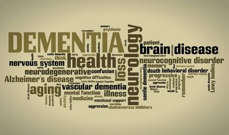 health collage: Dementia - seniors health concepts word cloud illustration. Word collage concept.