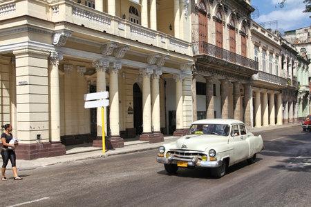 capita: HAVANA, CUBA - FEBRUARY 24, 2011: People drive a classic car in Havana. Cuba has one of the lowest car-per-capita rates (38 per 1000 people in 2008).