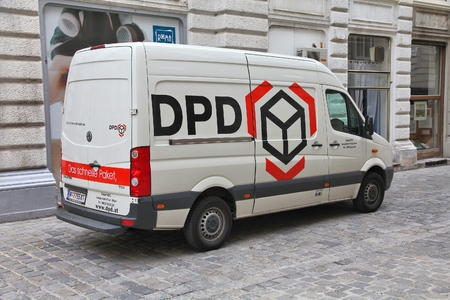 largest: VIENNA, AUSTRIA - SEPTEMBER 7, 2011: DPD van in Vienna. DPD is currently one of largest parcel delivery companies with 24,000 employees worldwide (2011). It exists since 1977.
