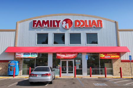 retailer: FRESNO, UNITED STATES - APRIL 12, 2014: Family Dollar store in Fresno, California. Family Dollar is a discount retailer with more than 8,000 locations in the US.