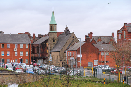 largest: BOLTON, UK - APRIL 23, 2013: Townscape view in Bolton, UK. Bolton is part of Greater Manchester, one of largest population areas in the UK (2.68m people living in the county).