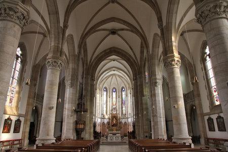 elisabeth: VIENNA, AUSTRIA - SEPTEMBER 7, 2011: Interior view of St. Elisabeth church in Vienna. The church was designed by Hermann Bergmann and built in years 1859-1868.