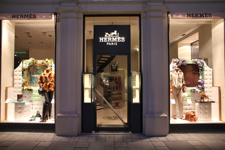 hermes: VIENNA, AUSTRIA - SEPTEMBER 4, 2011: Hermes store in Vienna. Hermes was founded in 1837 and 2.4 bn EUR in revenue in 2010.