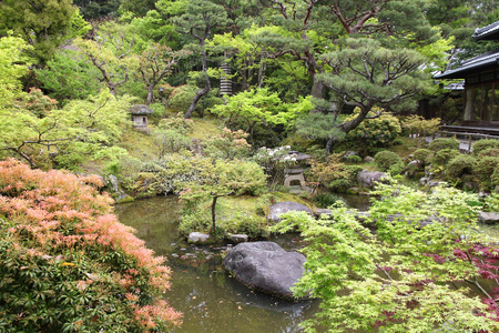 teahouse: Japan style garden - Yoshikien Garden in Nara.